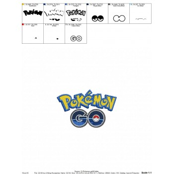 Pokemon go logo machine embroidery design for instant download