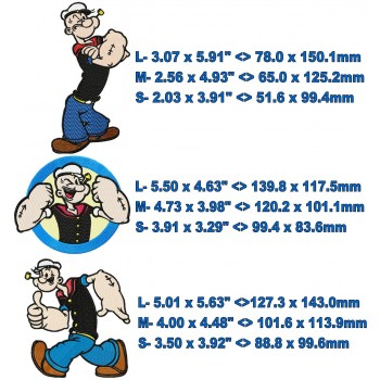 Popeye 3 machine embroidery designs in package for instant download