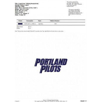 Portland Pilots logo machine embroidery design for instant download