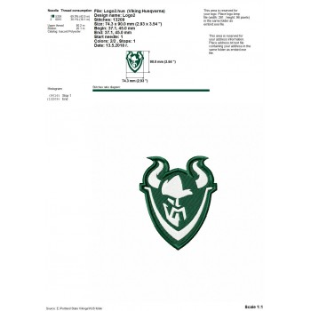 Portland State Vikings logos machine embroidery design for instant download