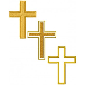 Religion crosses 3 machine embroidery designs in 9 sizes for instant download