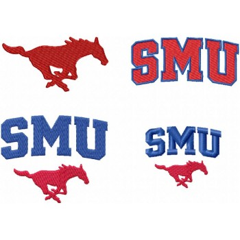 SMU Mustangs logo machine embroidery design for instant download