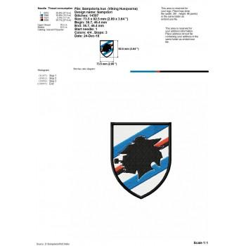 U C Sampdoria Genoa logo machine embroidery design for instant download