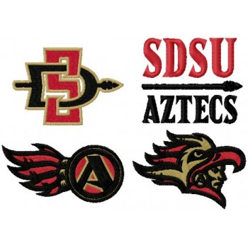 San Diego State Aztecs logos machine embroidery design for instant download