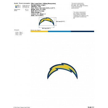 San Diego Chargers logo machine embroidery design for instant download