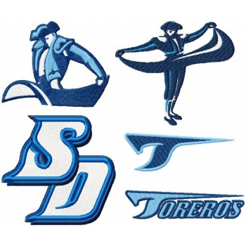 San Diego Toreros logos pack machine embroidery design for instant download