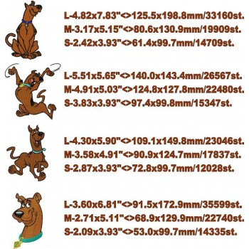 Scooby doo 4 machine embroidery designs for instant download