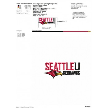 Seattle Redhawks logos machine embroidery design for instant download