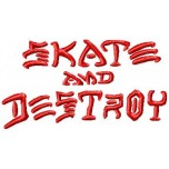 Skate and Destroy logo machine embroidery design for instant download