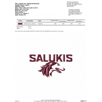 Southern Illinois Salukis logo machine embroidery design for instant download