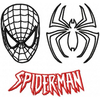 Spiderman mask and logo machine embroidery design for instant download