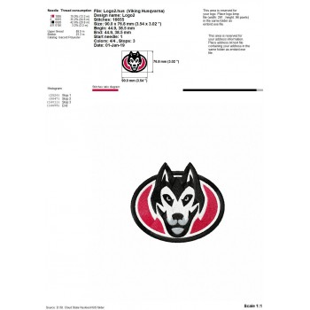 St. Cloud State Huskies logos machine embroidery design for instant download