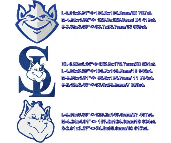 Louis Billikens Logo Machine Embroidery Design For Instant Download