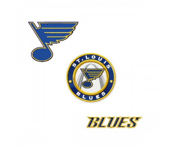 Louis Blues 3 Logos Machine Embroidery Design For Instant Download