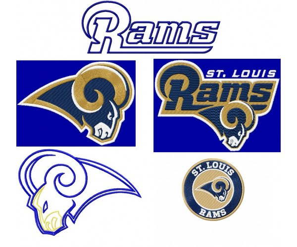 St louis rams logos machine embroidery designs for