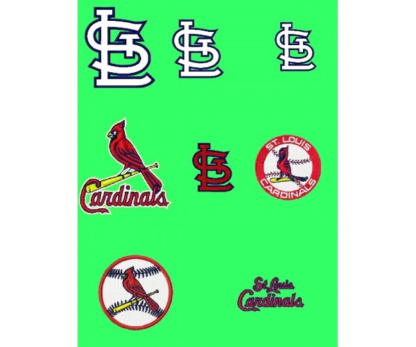 Stlouis Cardinals Logos Package Machine Embroidery Design 1 Free