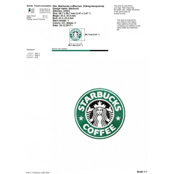 Starbucks coffee logo machine embroidery design for instant download