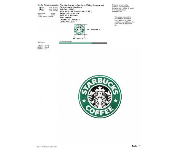 Starbucks Coffee Design: Starbucks Coffee Logo Machine Embroidery Design For