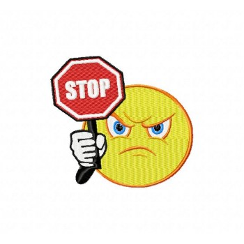 Stop Emoticon machine embroidery design for instant download