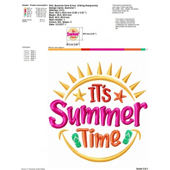 Summer time machine embroidery design for instant download