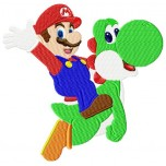 Super Mario and Yoshi machine embroidery design for instant download