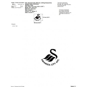 Swansea City AFC logo machine embroidery design for instant download