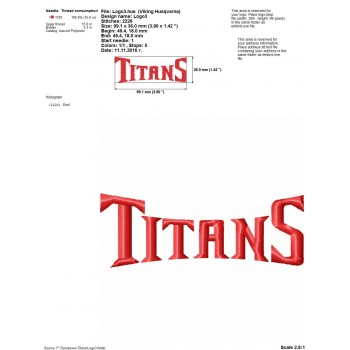 Tennessee Titans logo machine embroidery design for instant download