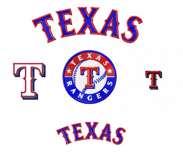 Texas rangers logo machine embroidery design for instant - Texas rangers logo images ...
