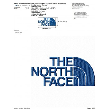 The North Face logo machine embroidery design for instant download