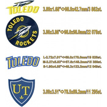 Toledo Rockets logo machine embroidery design for instant download
