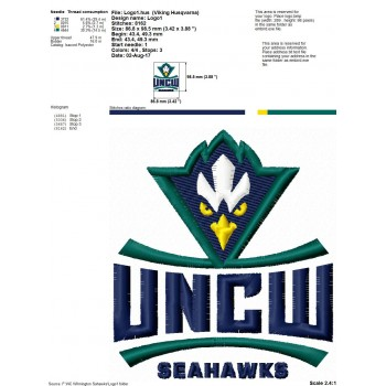 NC Wilmington Seahawks logo machine embroidery design for instant download
