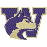 University of Washington Huskies logo machine embroidery design for instant download