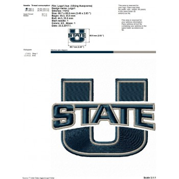 Utah State Aggies logos machine embroidery design for instant download
