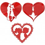 Valentines hearts kissing 3 machine embroidery design for instant download