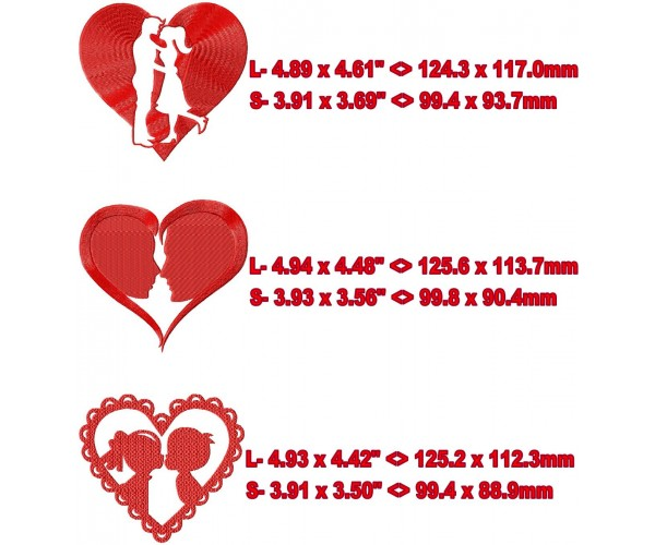 Valentines hearts kissing machine embroidery design for