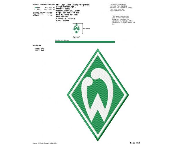 Atemberaubend Werder Bremen logo machine embroidery design for instant download #IJ_19