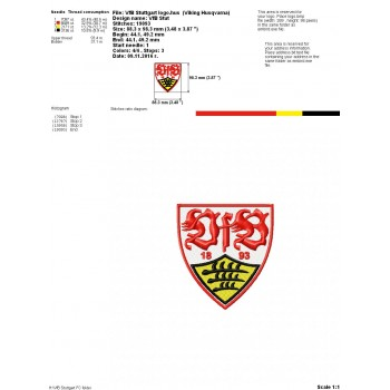 VfB Stuttgart FC logo machine embroidery design for instant download