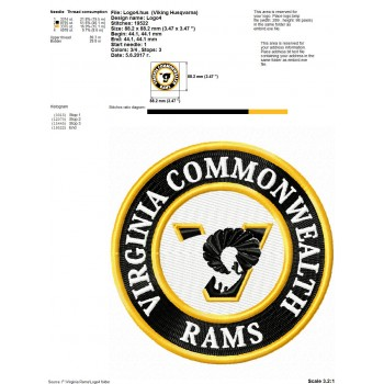 Virginia Commonwealth Rams logos machine embroidery design for instant download