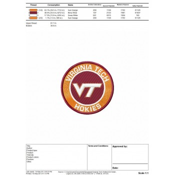 Virginia Tech Hokies logo machine embroidery design for instant download