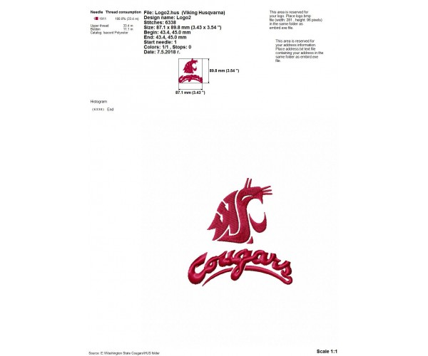 Washington State Cougars Logos Machine Embroidery Design For Instant