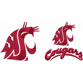 Washington State Cougars logos machine embroidery design for instant download