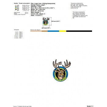 Waterloo Bucks logos machine embroidery design for instant download