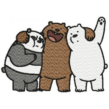 We Bare Bears cartoons machine embroidery design for instant download