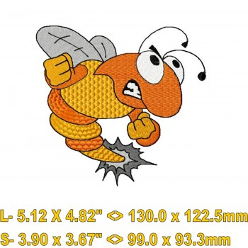 Angry Bee machine embroidery design for instant download