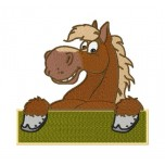 Happy horse machine embroidery design in two versions for instant download