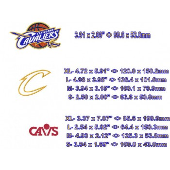 Cleveland Cavaliers Logos Machine Embroidery Design for instant download