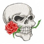 Skull with Rose Machine Embroidery Design for instant download